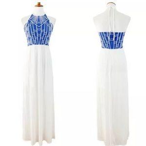 Jealous Tomato Blue White Tribal Gauze Maxi Dress